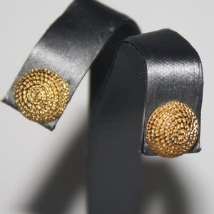 Beautiful gold button vintage earrings